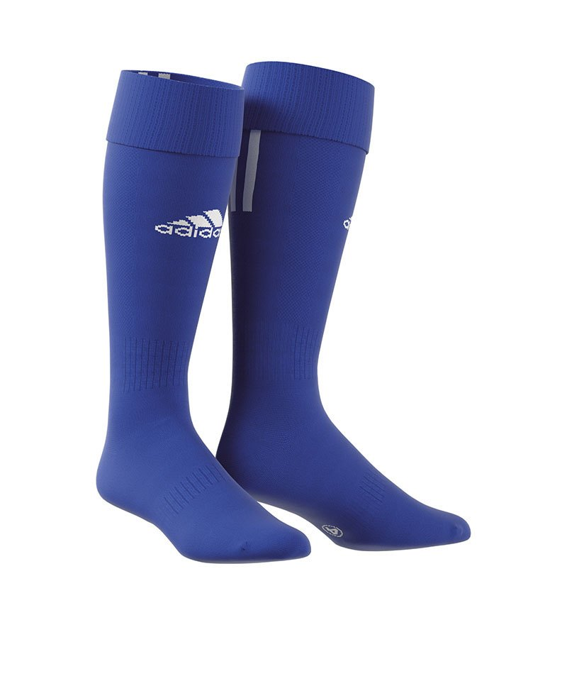 adidas Stutzenstrumpf Santos 3-Stripes Blau Weiss - blau
