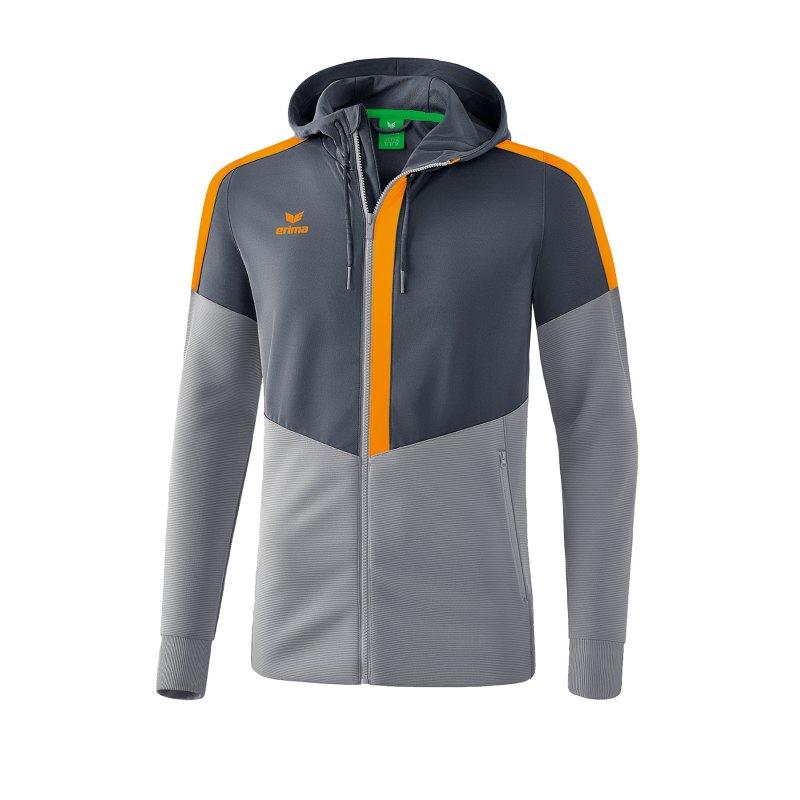 Erima Squad Kapuzen-Trainingsjacke Grau Orange - grau