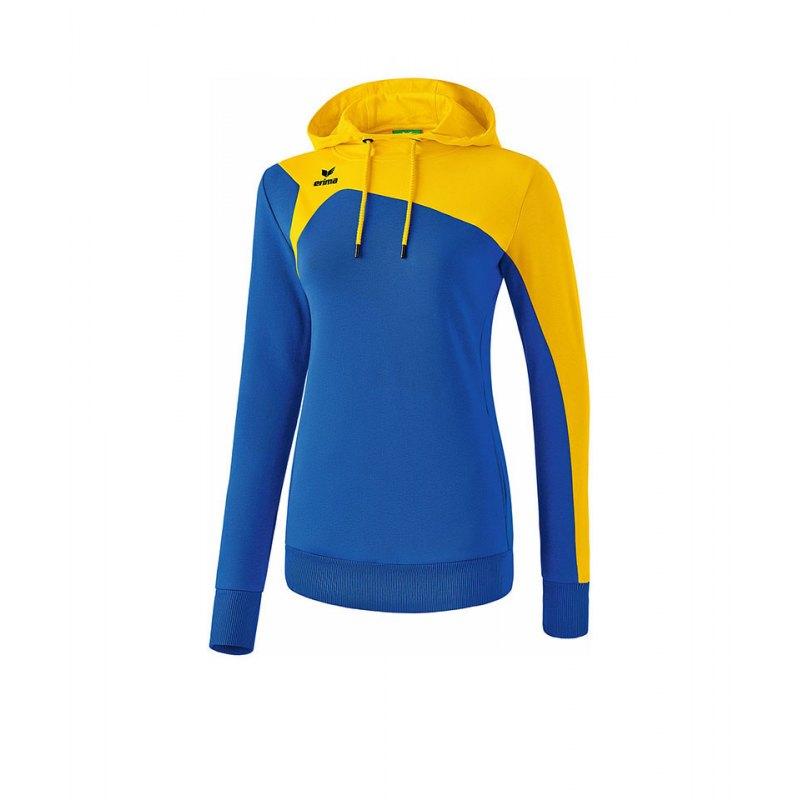 Erima Club 1900 2.0 Kapuzensweat Damen Blau Gelb - blau