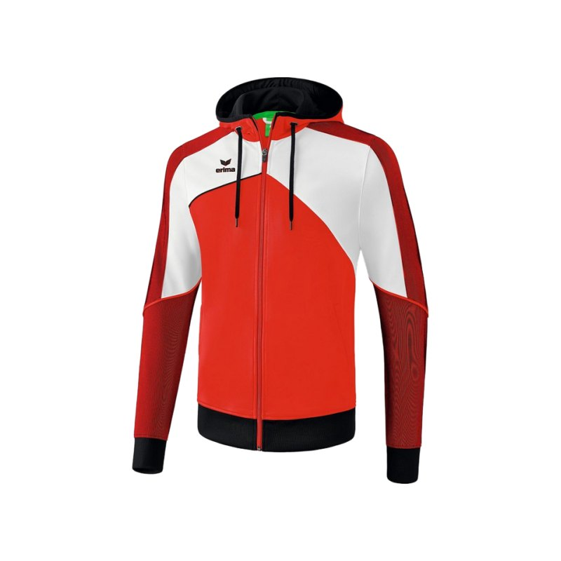 Erima Premium One 2.0 Kapuzenjacke Rot Weiss - rot