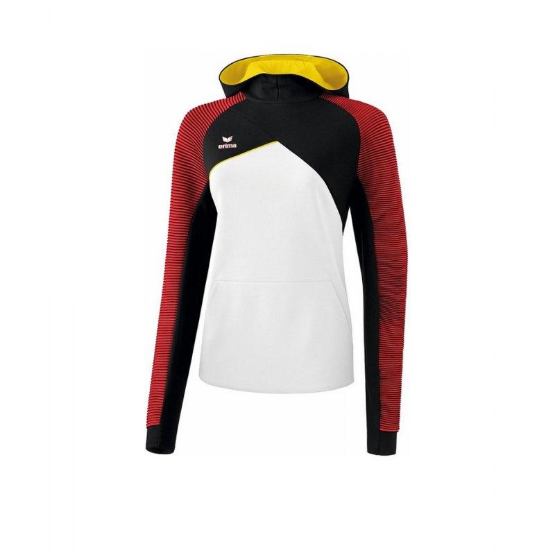 Erima Premium One 2.0 Kapuzensweat Damen Weiss Rot - weiss