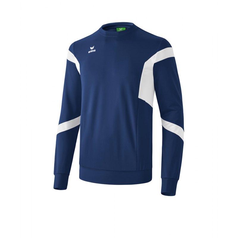 Erima Classic Team Sweatshirt Blau Weiss - blau