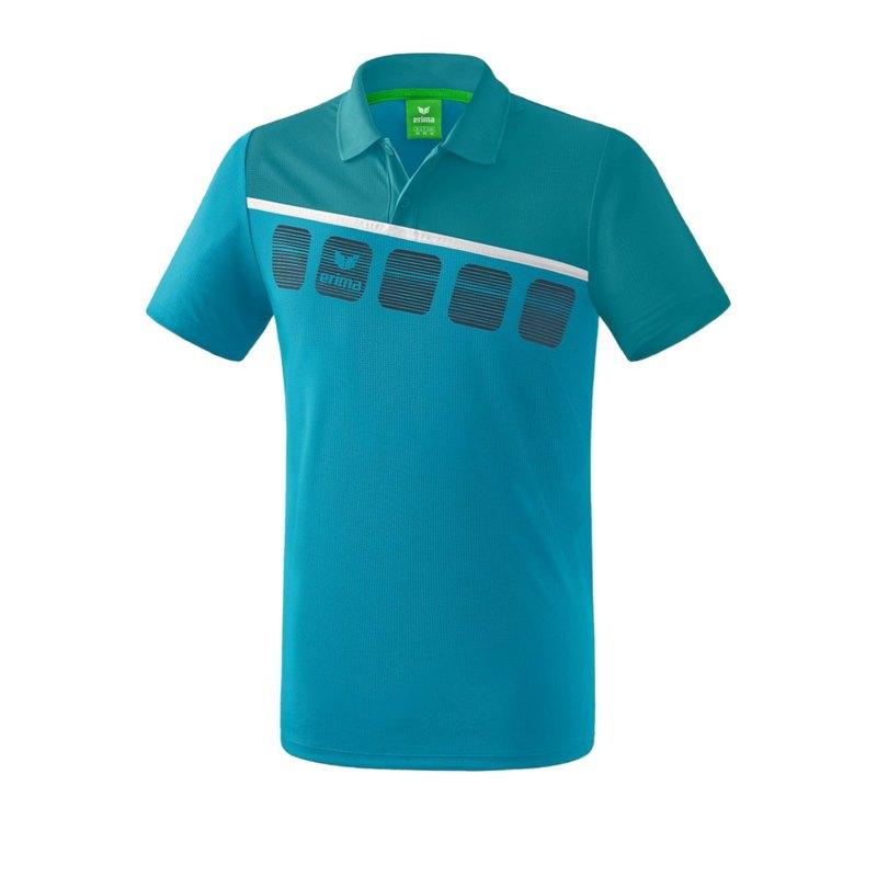 Erima 5-C Poloshirt Kids Blau Weiss - Blau