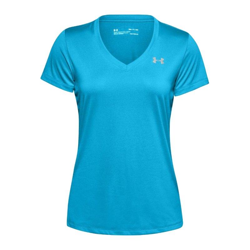 Under Armour Tech V-Neck T-Shirt Damen Blau F417 - blau