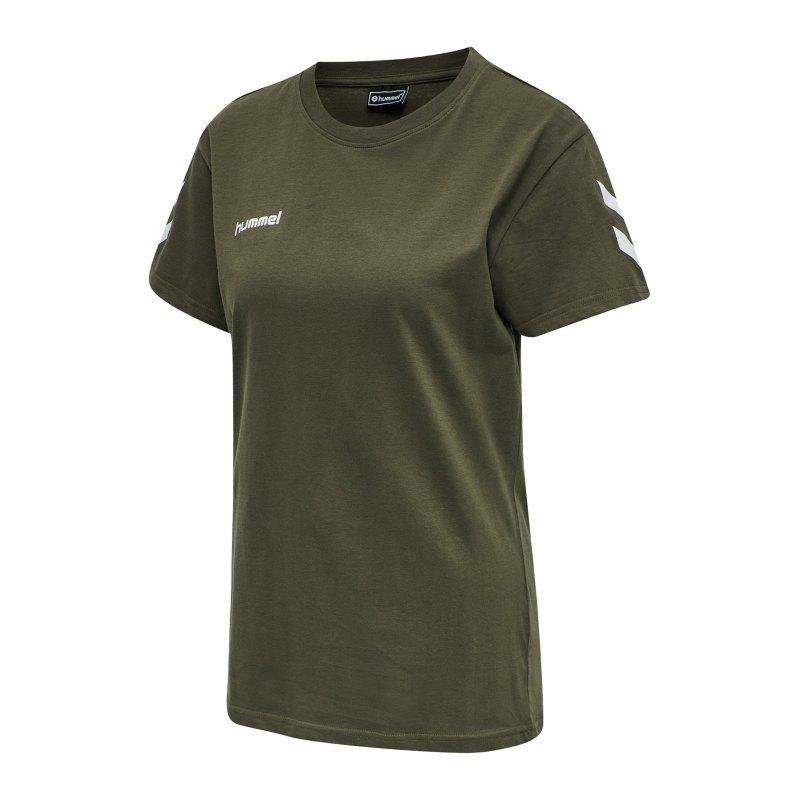 Hummel Cotton T-Shirt Damen Grün F6084 - Gruen