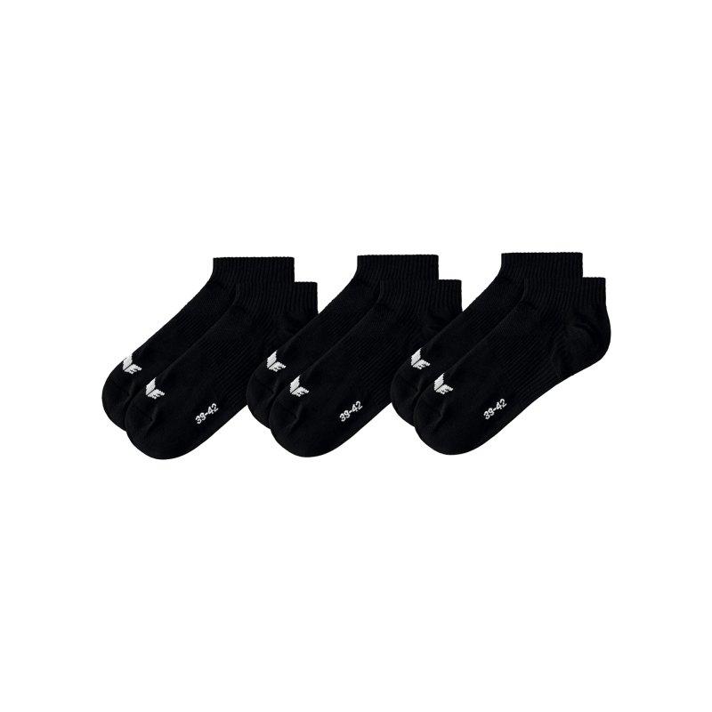 Erima 3-Pack Füßlinge Schwarz - Schwarz