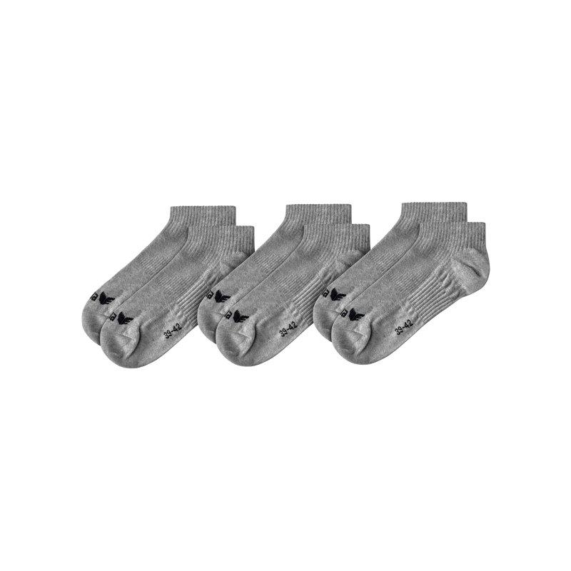 Erima 3-Pack Füßlinge Grau - Grau