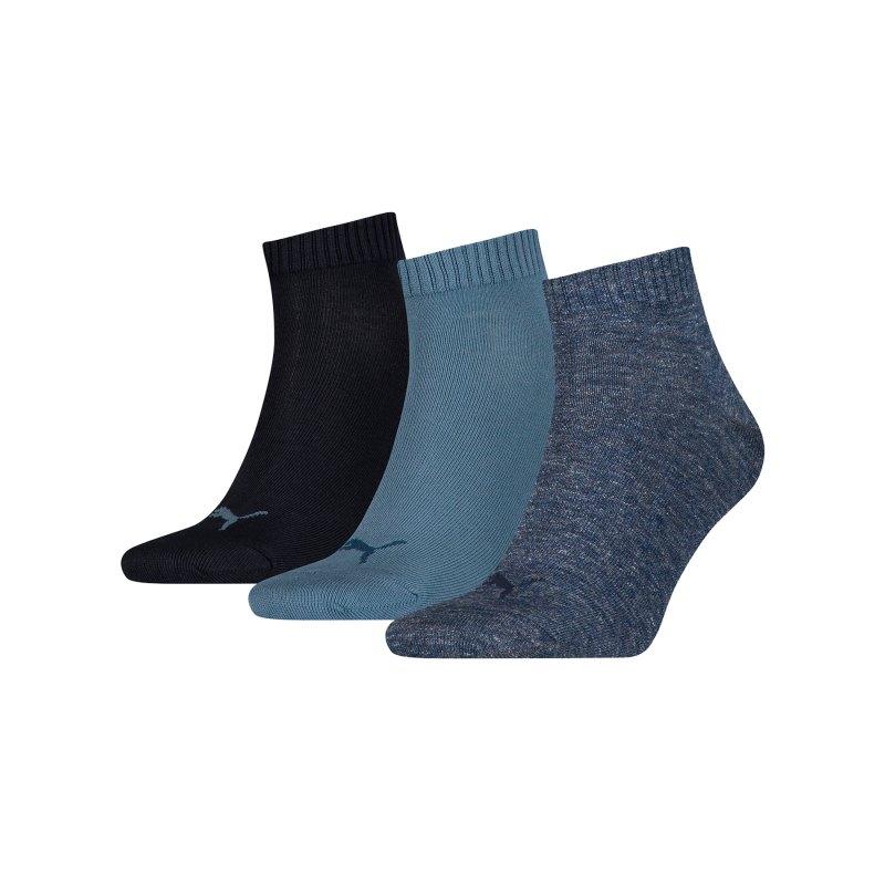 PUMA Unisex Quarter Plain 3er Pack Socken F460 - blau