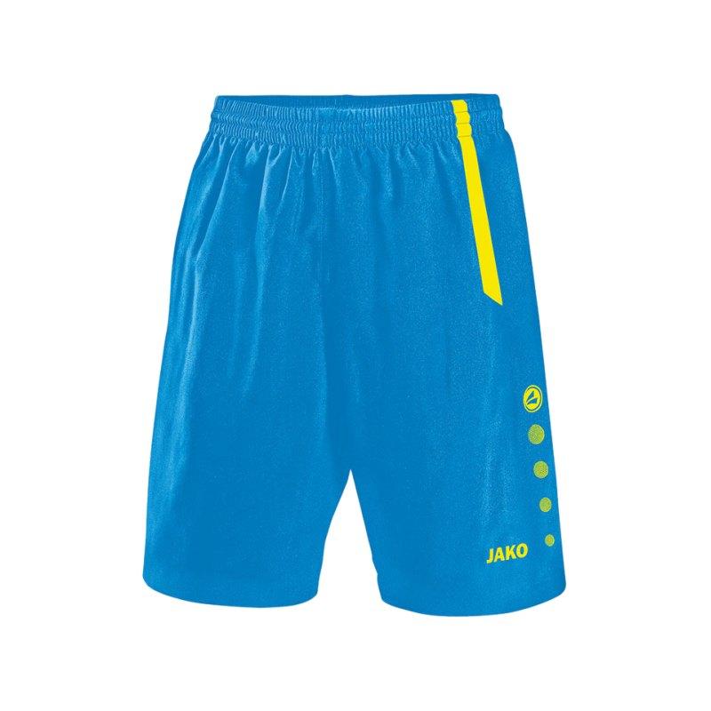 Jako Turin Sporthose ohne Innenslip Blau Gelb F83 - blau