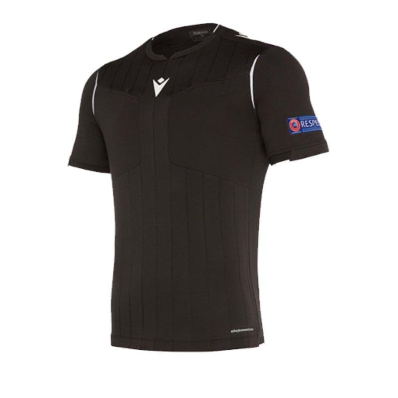 Macron UEFA Schiedsrichtertrikot kurzarm Schwarz - schwarz
