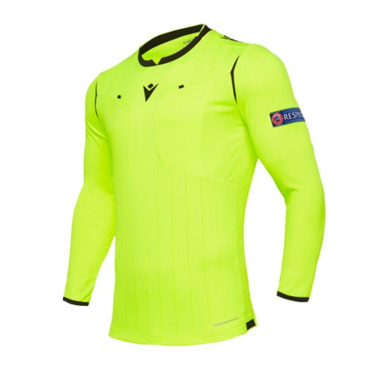 Macron UEFA Schiedsrichtertrikot langarm Neon Gelb - gelb