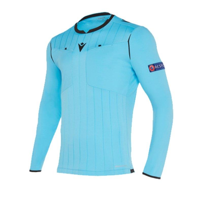 Macron UEFA Schiedsrichtertrikot langarm Neon Blau - blau