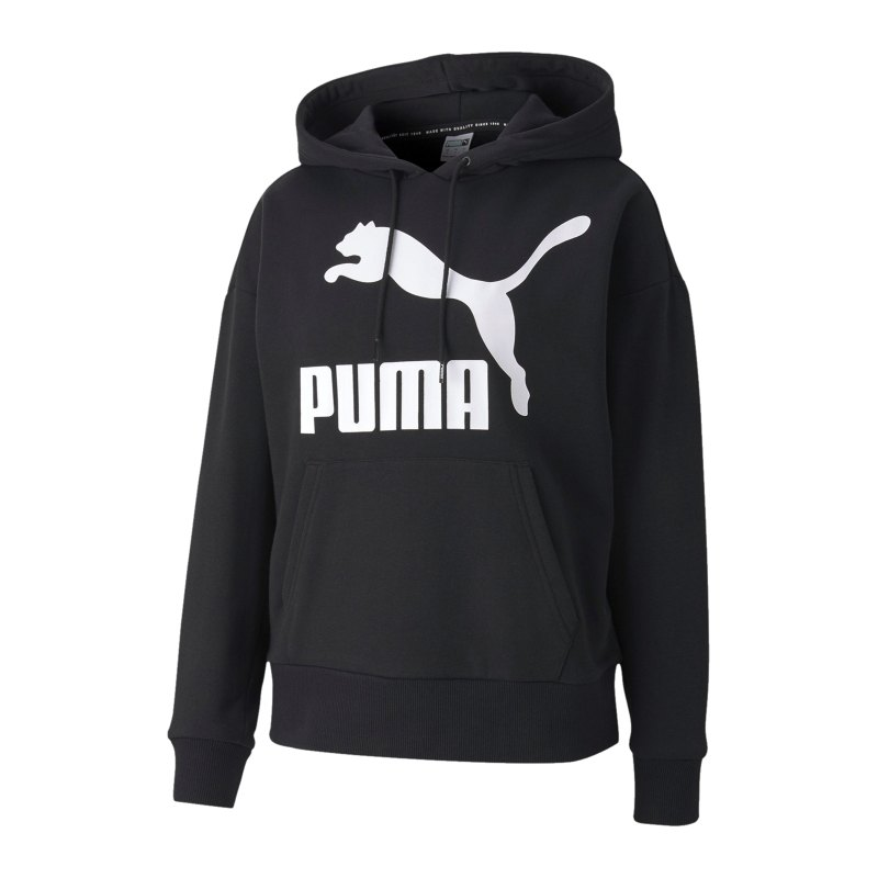 PUMA Classic Logo Hoody Damen Schwarz F01 - schwarz