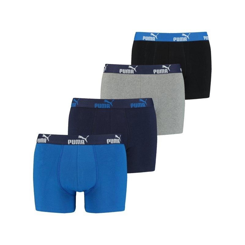 PUMA Solid Boxer 4er Pack Blau F001 - blau