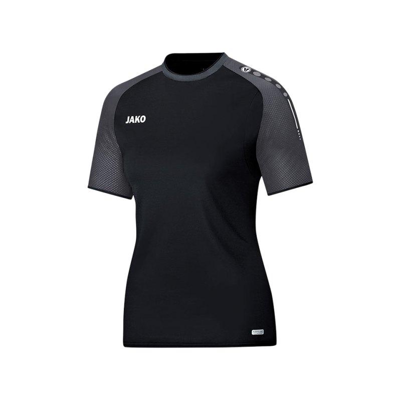 Jako T-Shirt Champ Damen Schwarz Grau F21 - schwarz