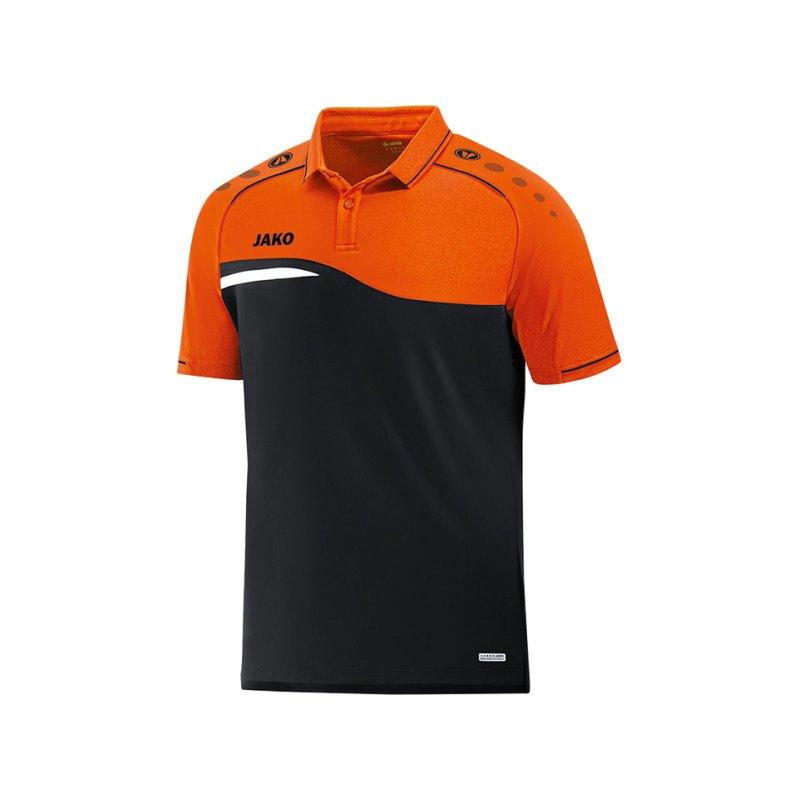 Jako Competition 2.0 Poloshirt Schwarz Orange F19 - schwarz