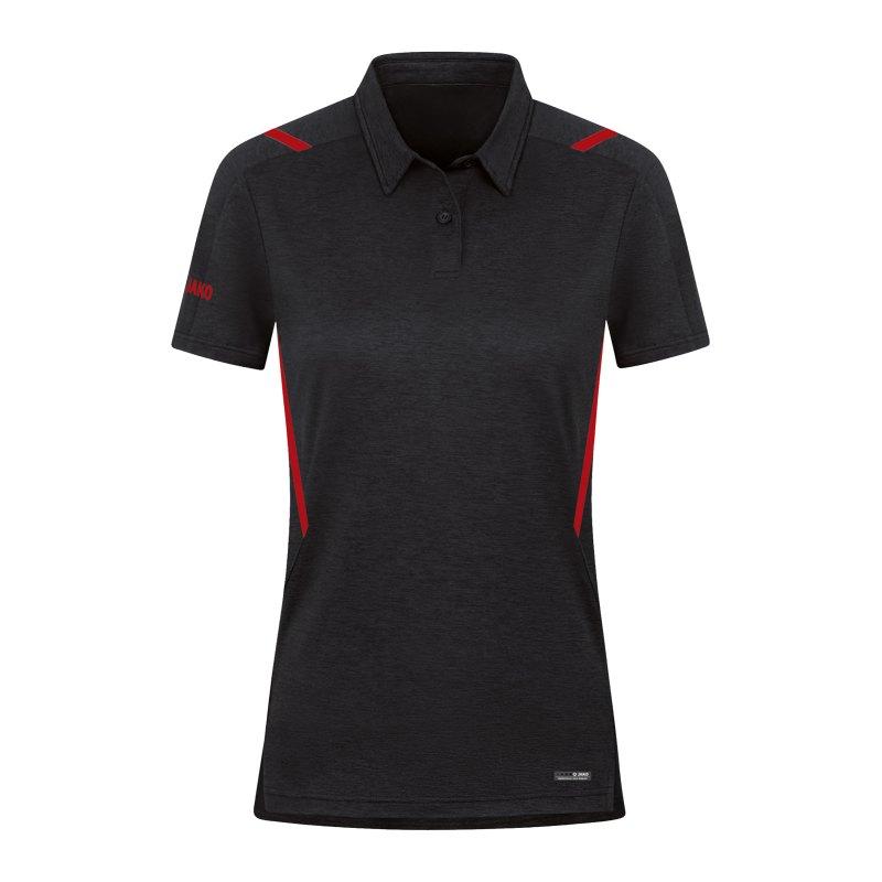 JAKO Challenge Polo Damen Rot F502 - schwarz