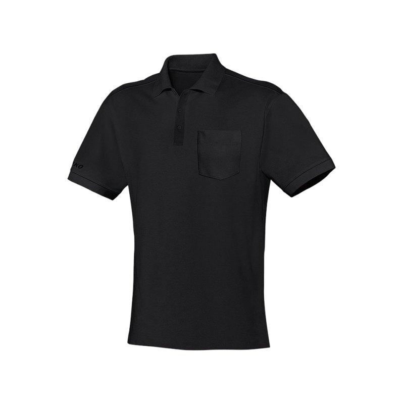 Jako Team Polo mit Brusttasche Schwarz F08 - schwarz