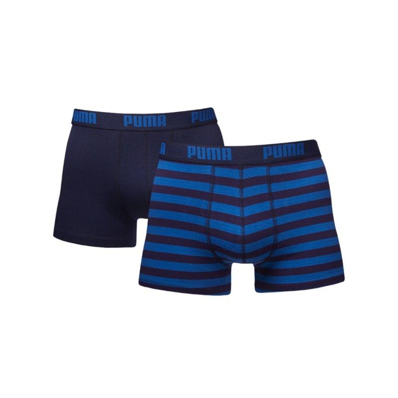 PUMA Stripe Boxer 2er Pack F056 Blau - blau