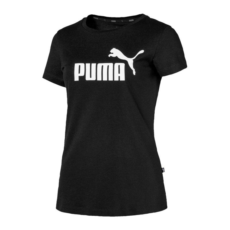 PUMA Essential Logo T-Shirt Damen Schwarz F01 - schwarz