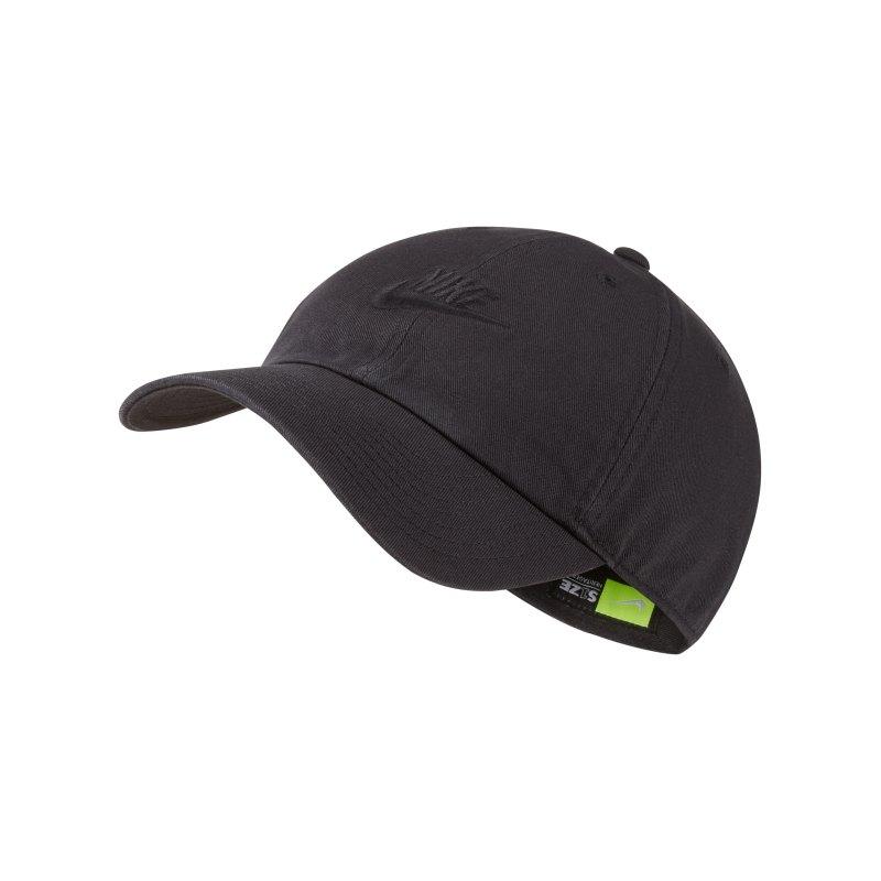 Nike Heritage 86 Washed Cap Kappe Schwarz F011 - schwarz