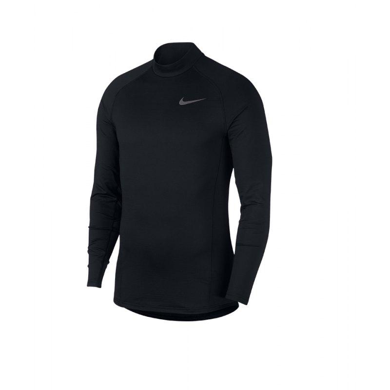 Nike Therma Longsleeve Mock Schwarz F010 - schwarz