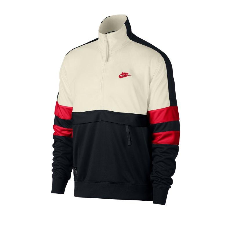 Nike Air Sweatshirt 1/4 Zip Beige Schwarz Rot F134 - Weiss