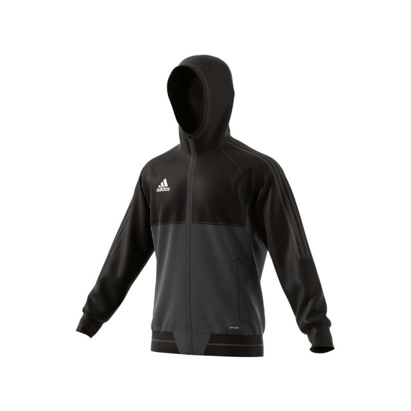 adidas Tiro 17 Präsentationsjacke Schwarz Grau - schwarz