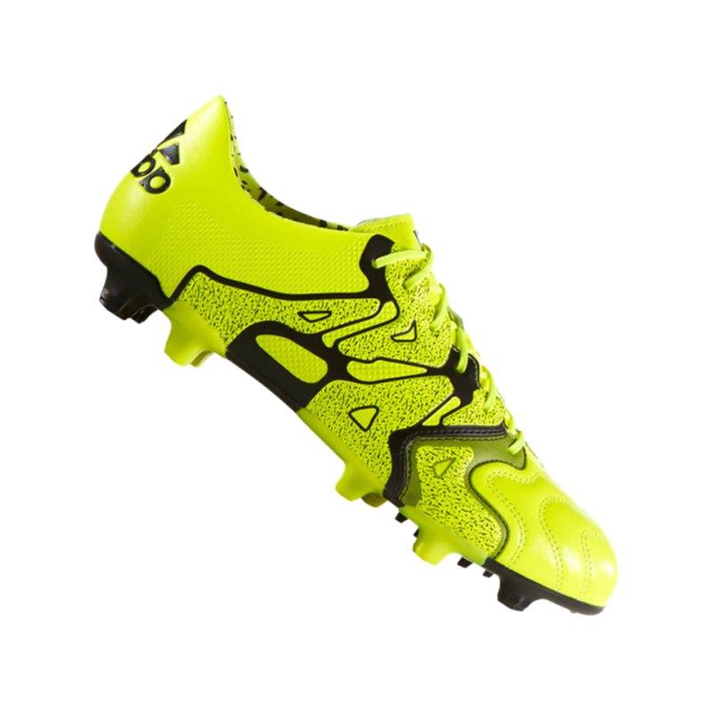 adidas X 15.1 FG Leder Gelb Schwarz - gelb
