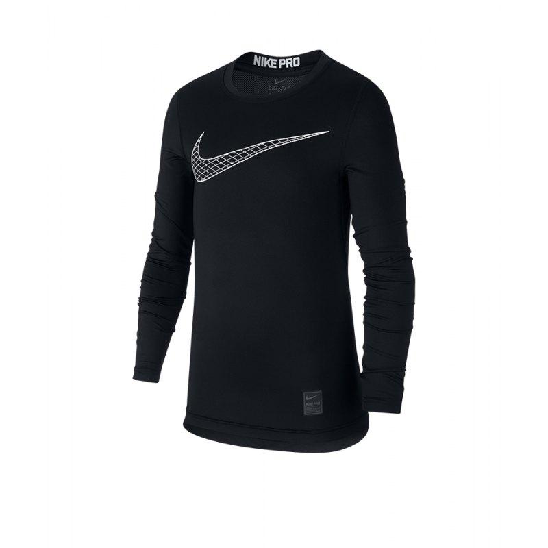 Nike Pro Longsleeve Shirt Kids Schwarz F010 - schwarz
