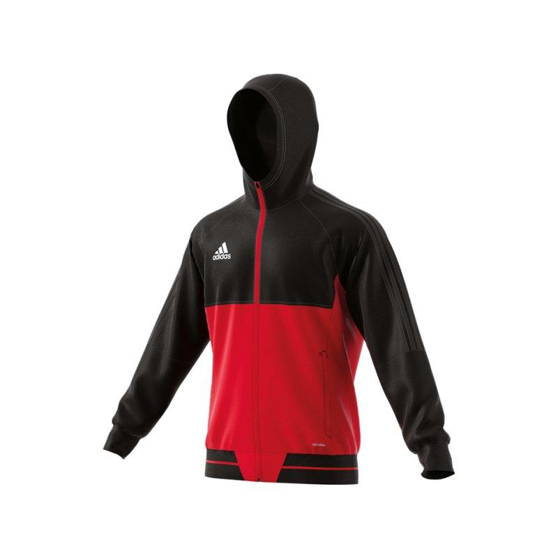 adidas Tiro 17 Präsentationsjacke Schwarz Rot - schwarz