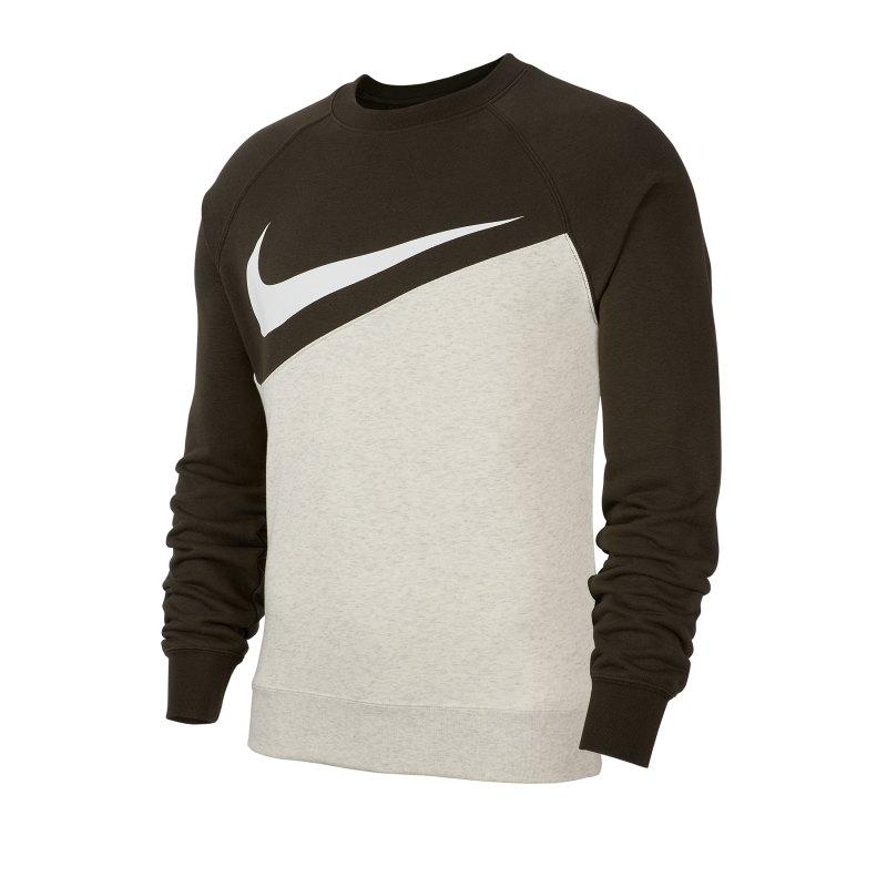 Nike Swoosh French Terry Crew Langarmshirt F141 - schwarz