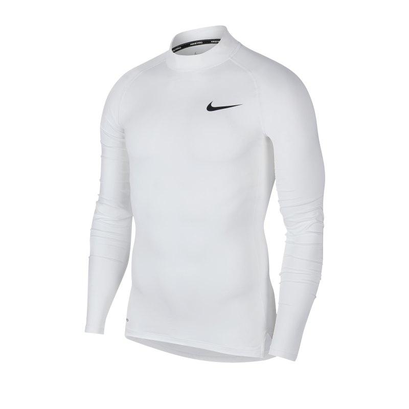 Nike Pro Training Top Mock langarm Weiss F100 - weiss