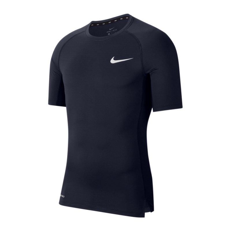 Nike Pro Trainingsshirt kurzarm Blau F452 - blau