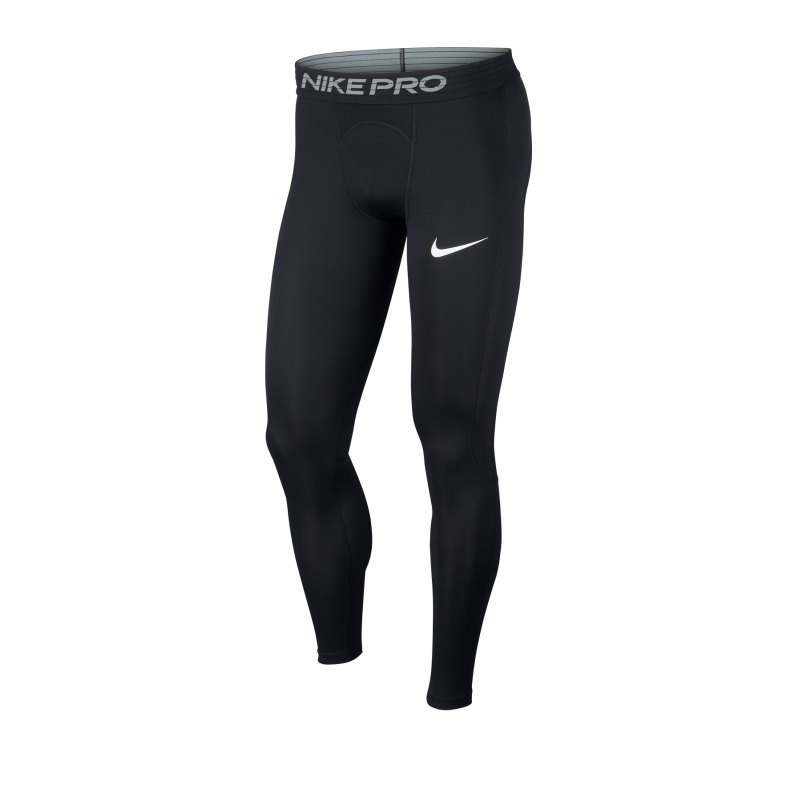 Nike Pro Tight Hose lang Schwarz Weiss F010 - schwarz