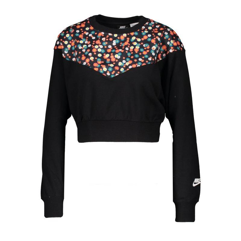Nike Heritage Floral Sweatshirt Damen Schwarz F010 - schwarz