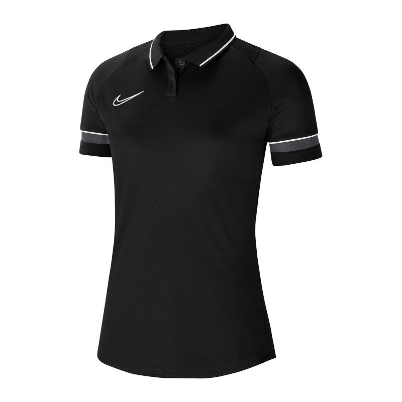 Nike Academy 21 Poloshirt Damen Schwarz Weiss F014 - schwarz