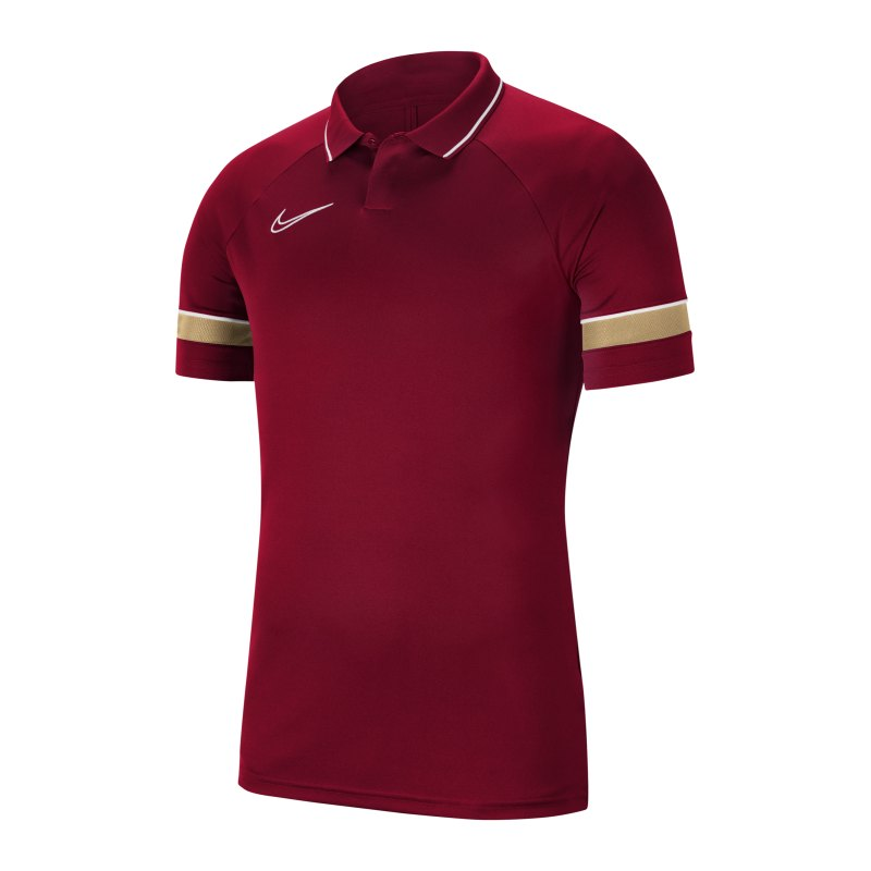 Nike Academy 21 Poloshirt Rot Weiss F677 - rot