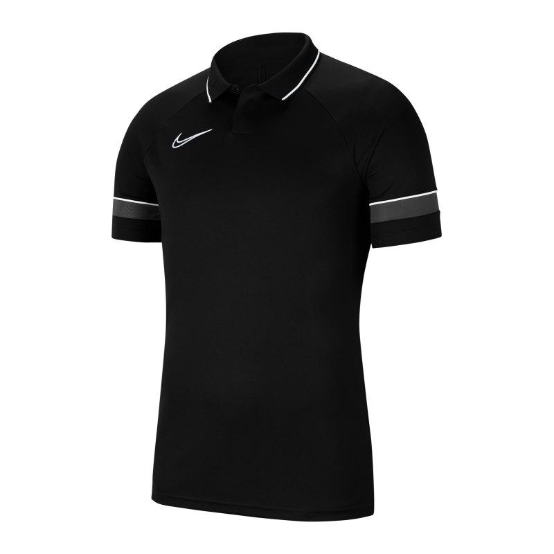 Nike Academy 21 Poloshirt Schwarz Weiss F014 - schwarz