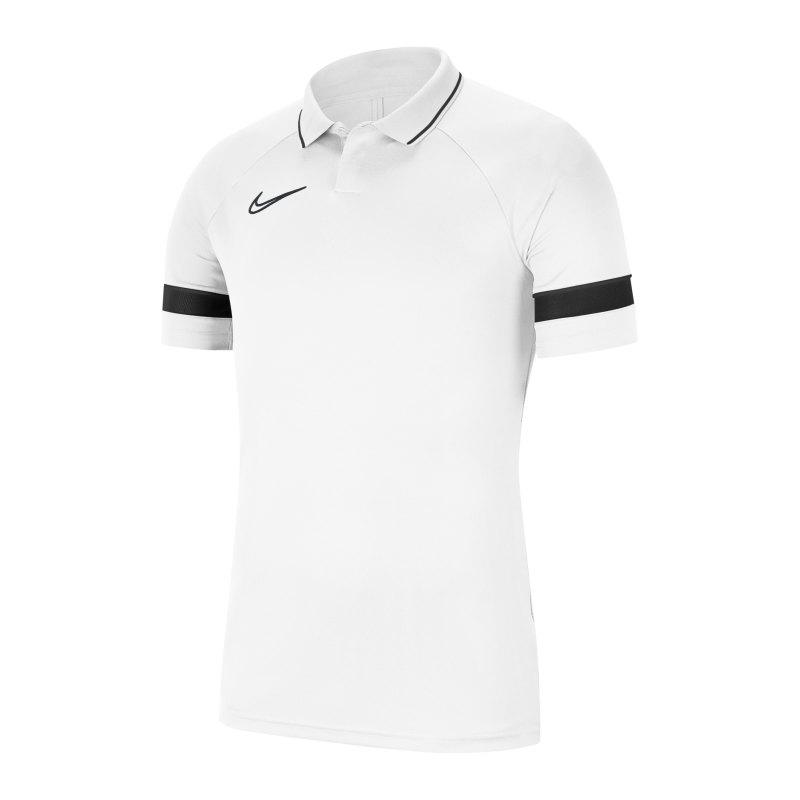 Nike Academy 21 Poloshirt Weiss Schwarz F100 - weiss