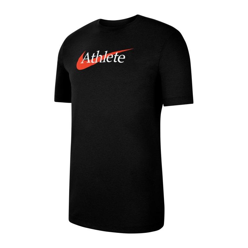 Nike Athlete Swoosh T-Shirt Schwarz Orange F013 - schwarz