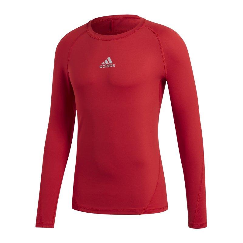 adidas Alphaskin Sport Shirt Longsleeve Rot - rot
