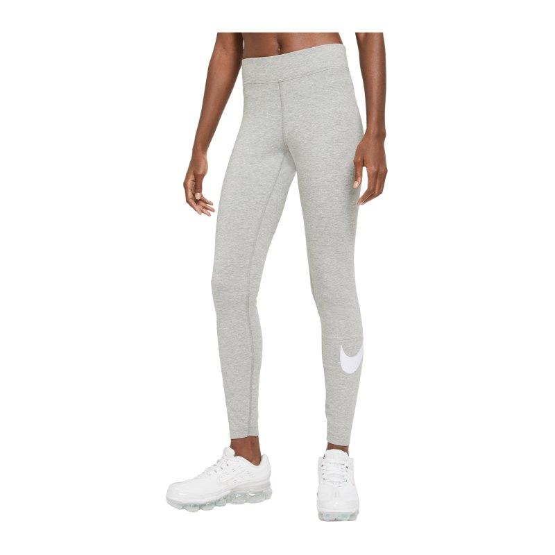Nike Essentials Swoosh Leggings Damen Grau F063 - grau