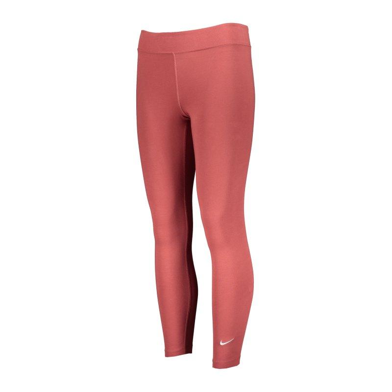 Nike Essential 7/8 Leggings Damen Braun Weiss F691 - rot