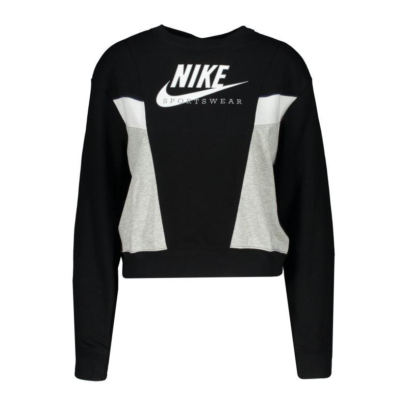 Nike Heritage Crew Sweatshirt Damen Schwarz F010 - schwarz