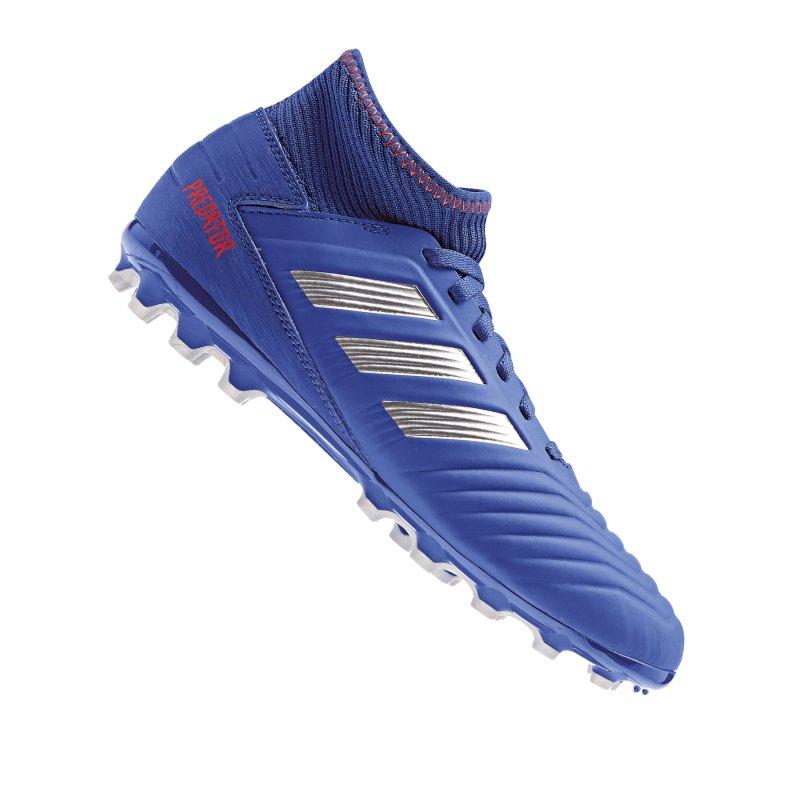 adidas Predator 19.3 AG J Kids Blau Silber - blau