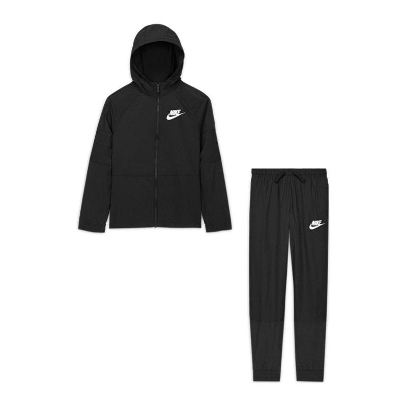 Nike HBR Woven Freizeitanzug Kids Schwarz F010 - schwarz