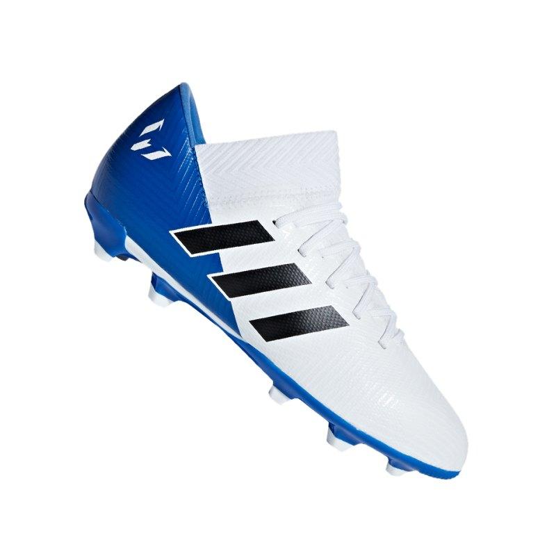 adidas NEMEZIZ Messi 18.3 FG J Kids Weiss Blau - weiss