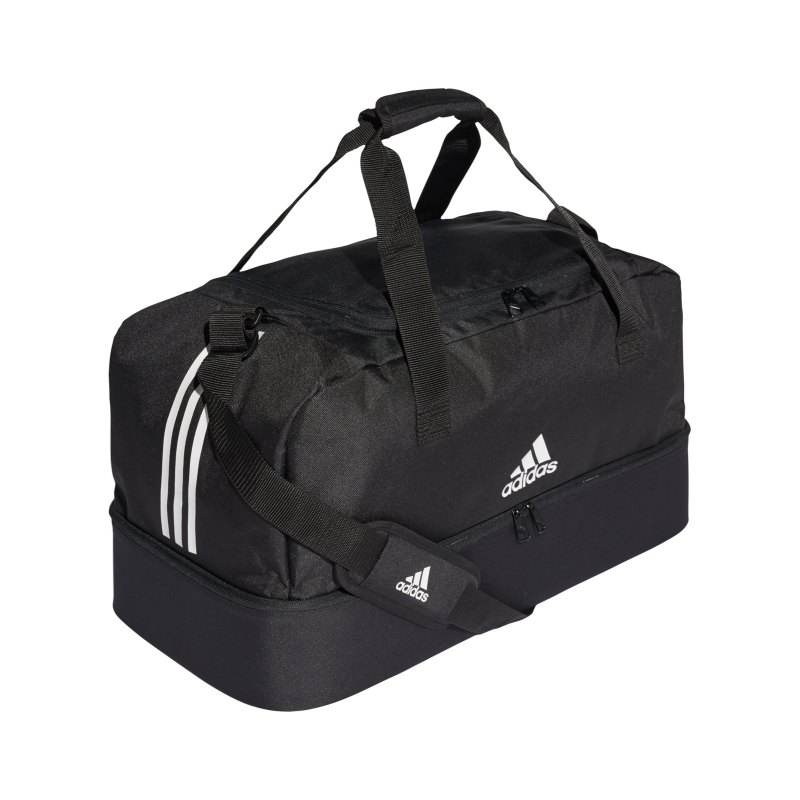 adidas Tiro Duffel Bag Gr. M mit Bodenfach Schwarz - schwarz