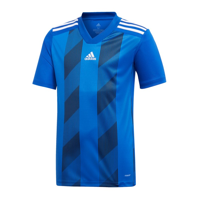 adidas Striped 19 Trikot kurzarm Kids Blau Weiss - blau